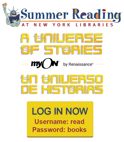 Summer Reading at New York Libraries graphic with user name and password